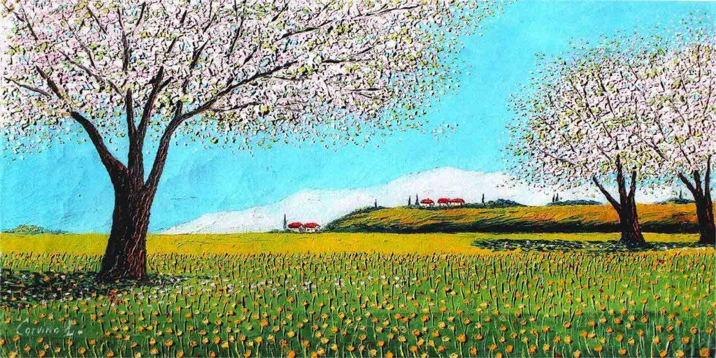 Colline bergamasche con campo di fiorid di colza