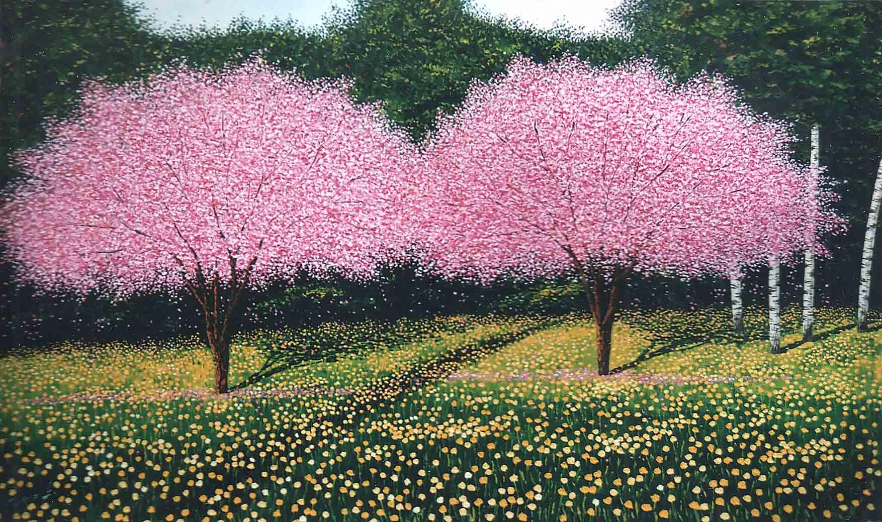 Alberi rosa con ranuncoli