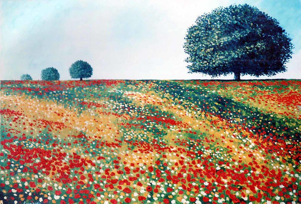 Quercia con campo fiorito